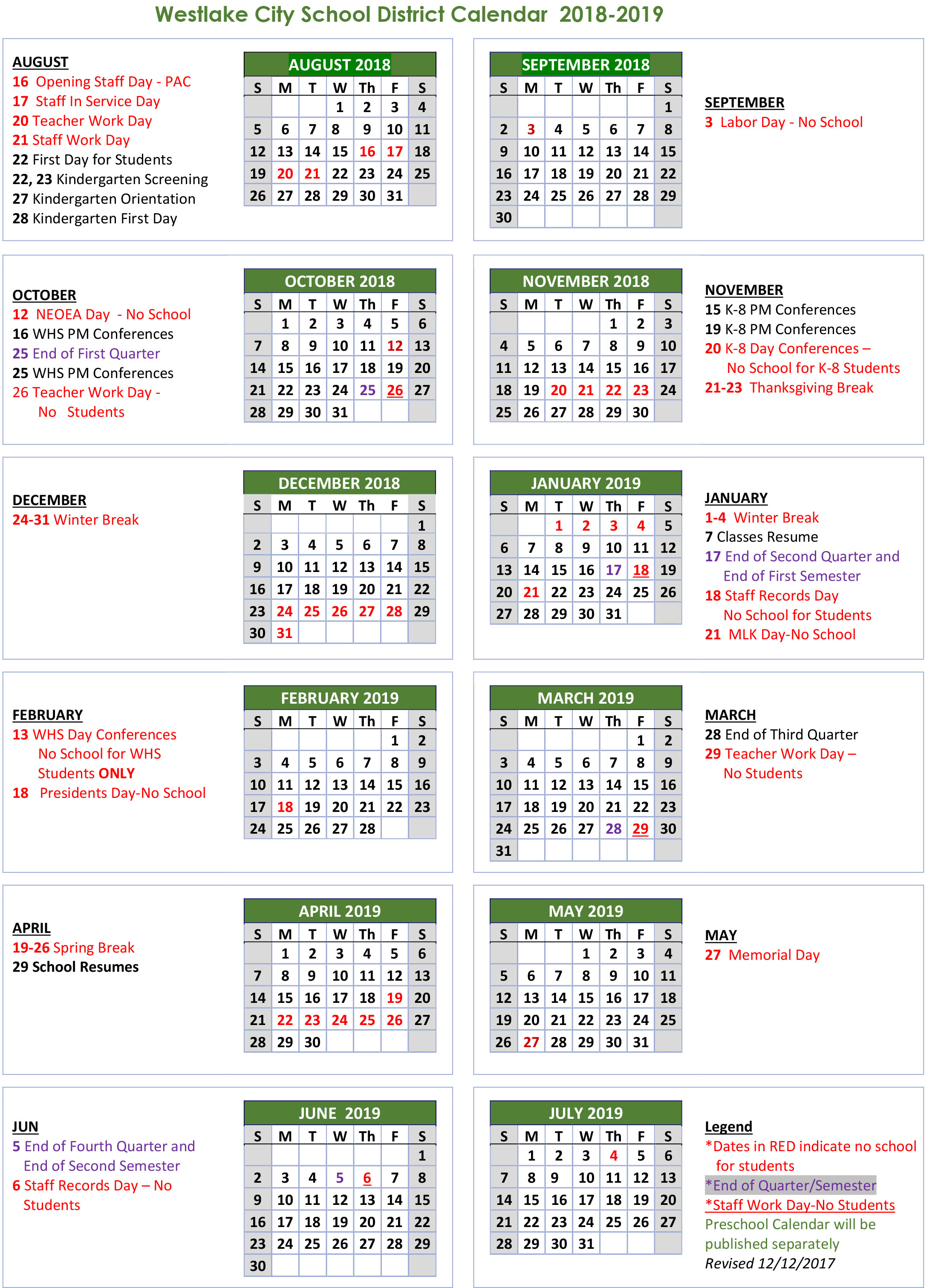 school calendar westlake city school district