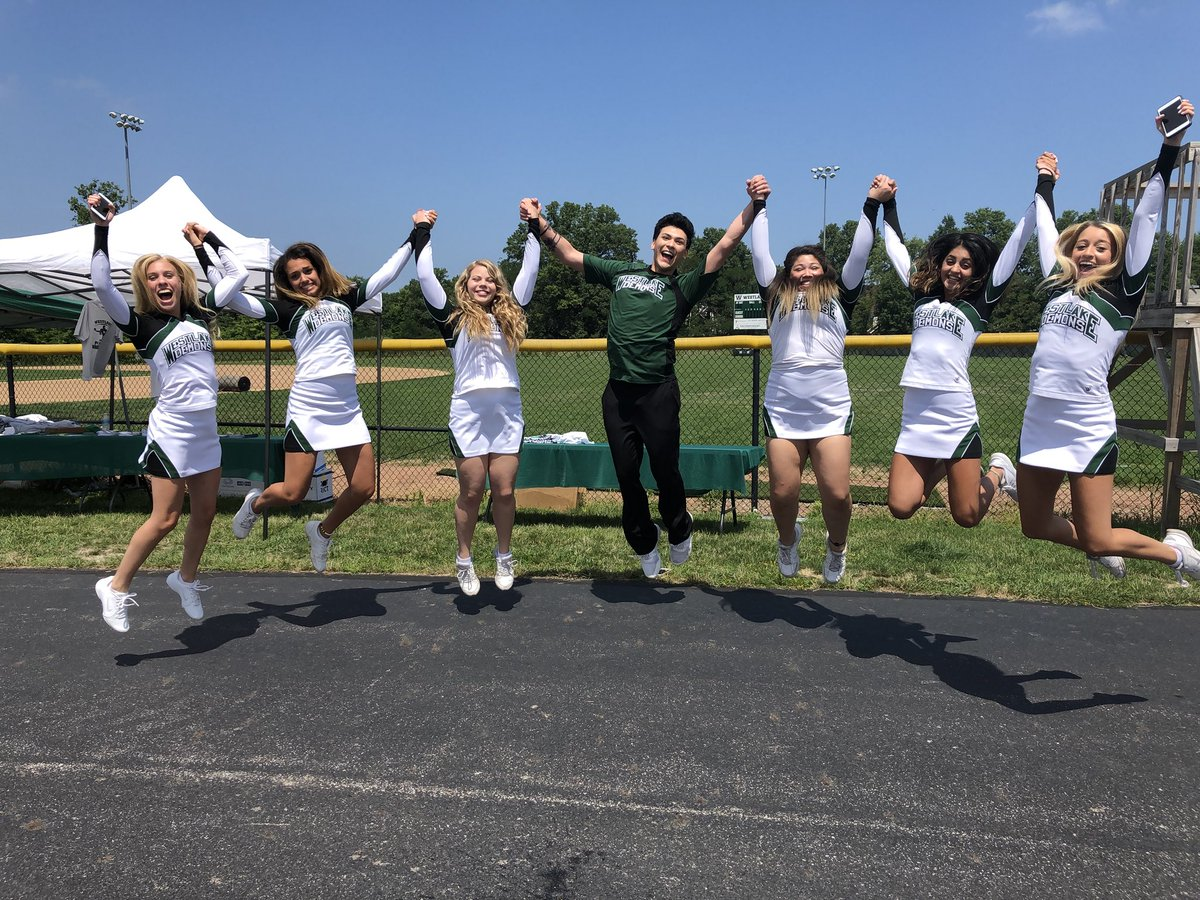 WHS cheerleaders jumping in the air