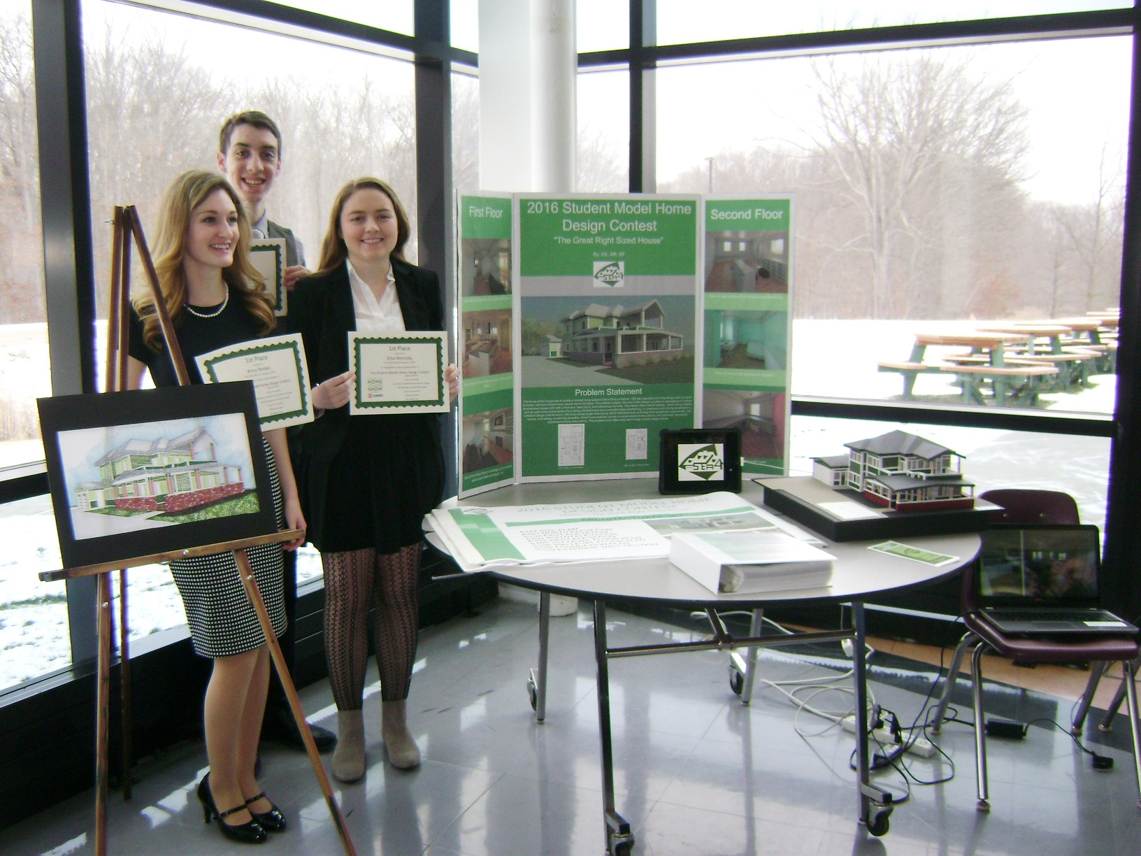 Anna Renkel, Sean Freeman, and Elise Kennedy - grand prize winners - 2016 Student Model Home Design Contest