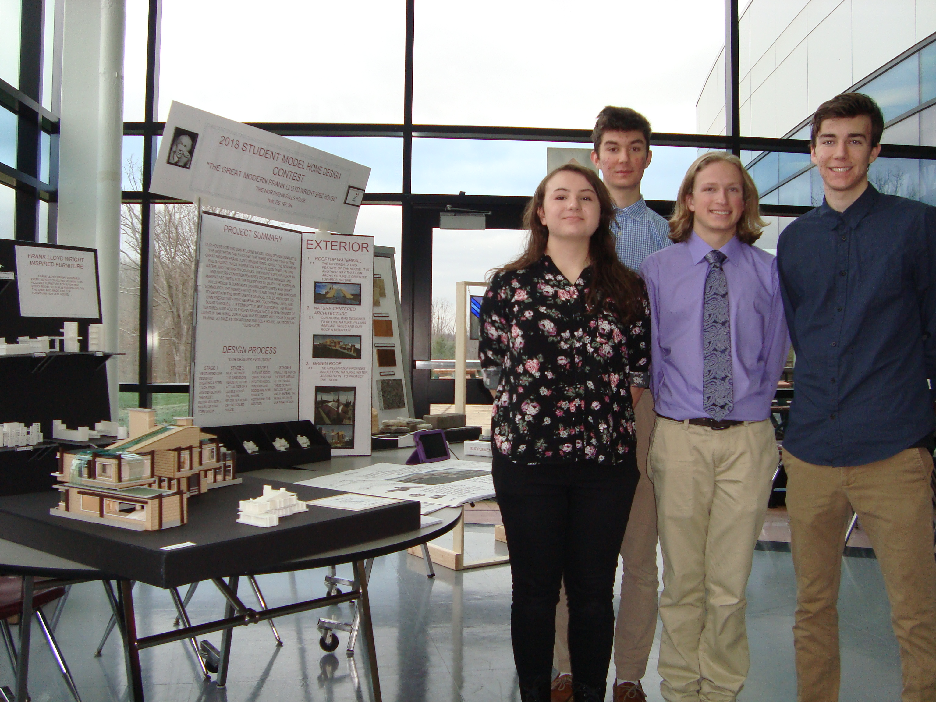 2018 Student Model Home Design Contest - 1st place team - Katie Willi, Robert Fulop, Ethan Simon, Scott Rennard of Westlake HS 1-27-18