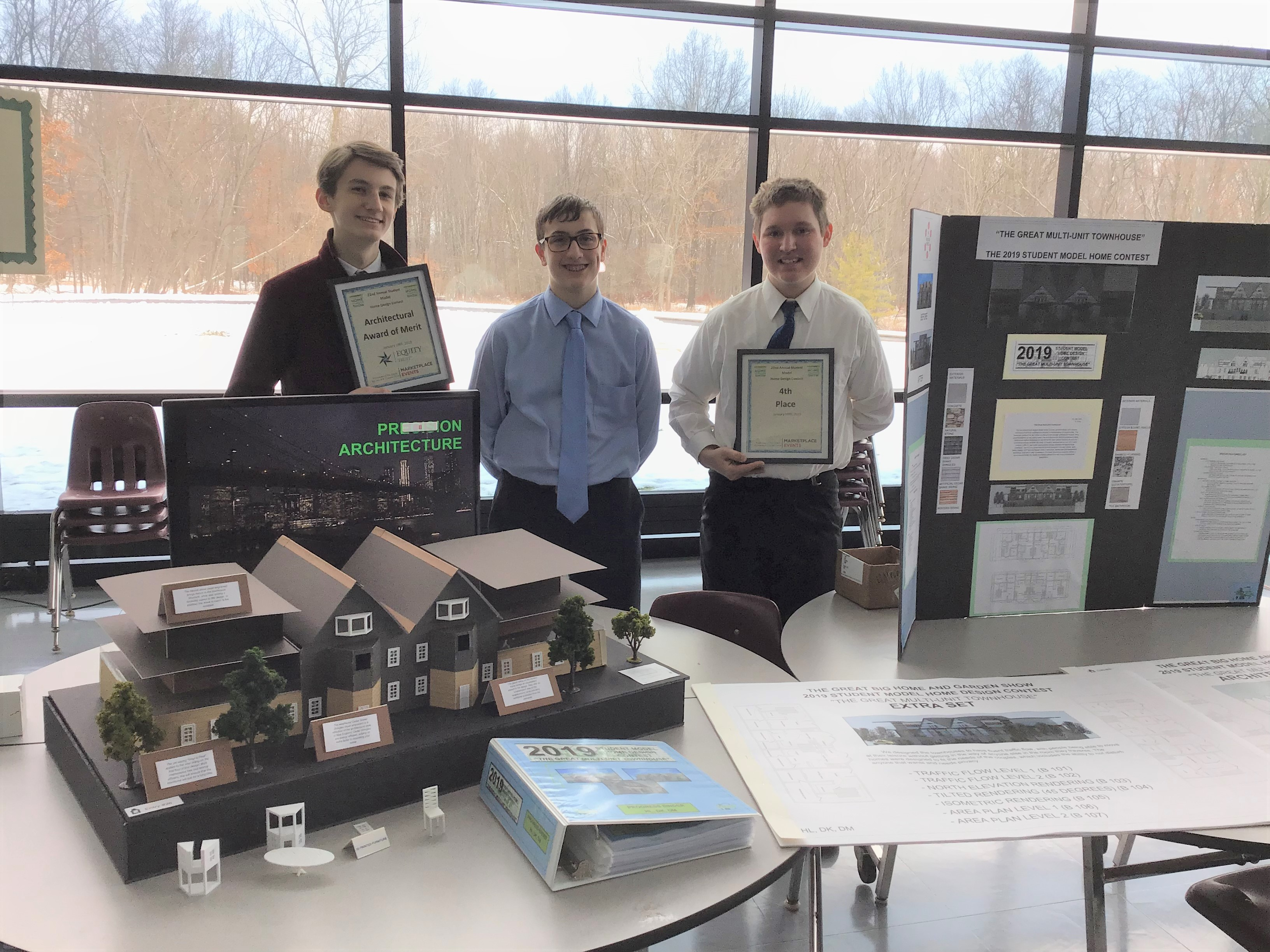 Student Model Home Design Contest - 4th Place team - Drew Mather, Danny Keenan, Henry Levenberg 1-19-19