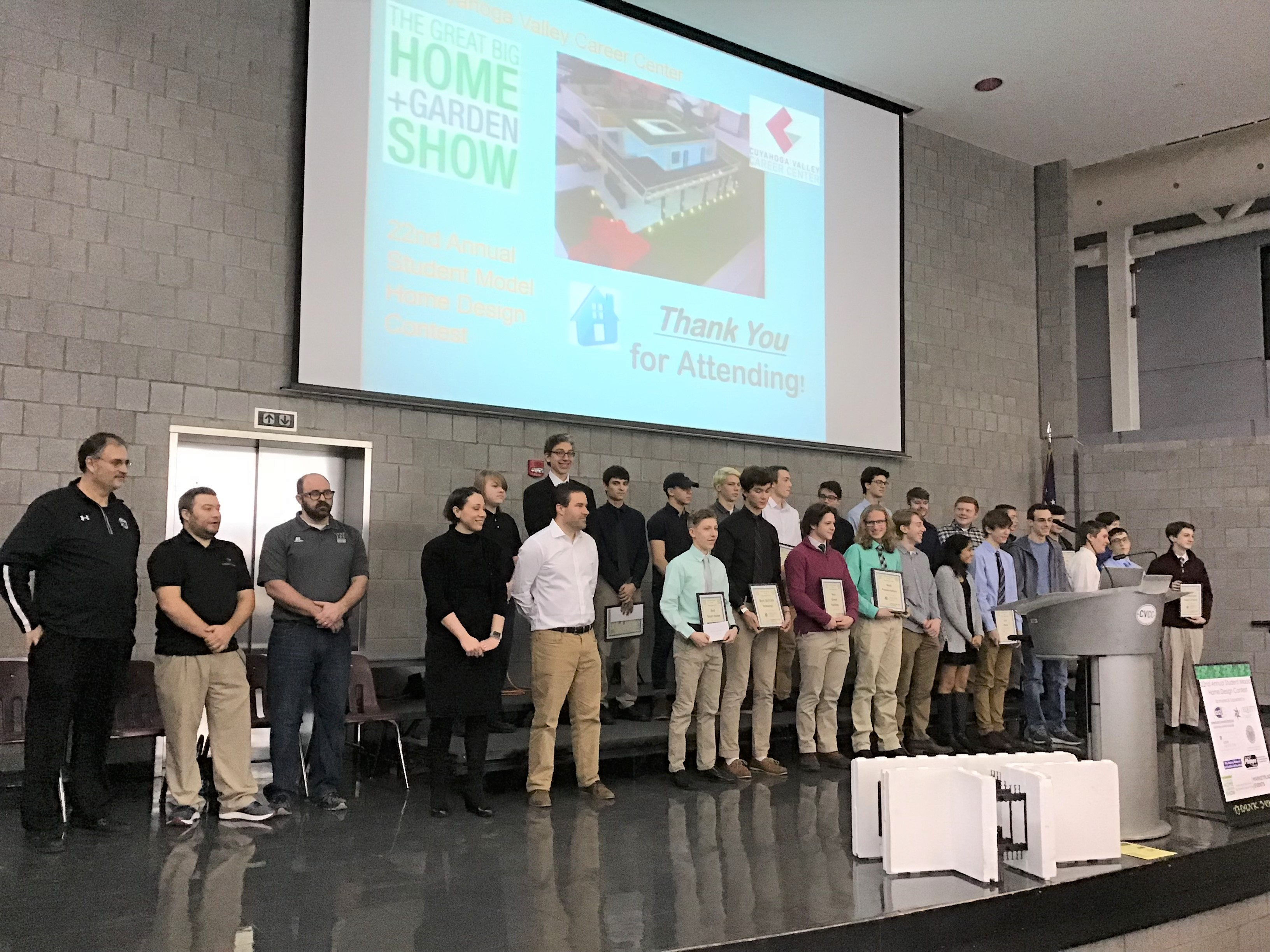 2019 contest - Top Ten finalists and presenters on stage at CVCC 1-19-19