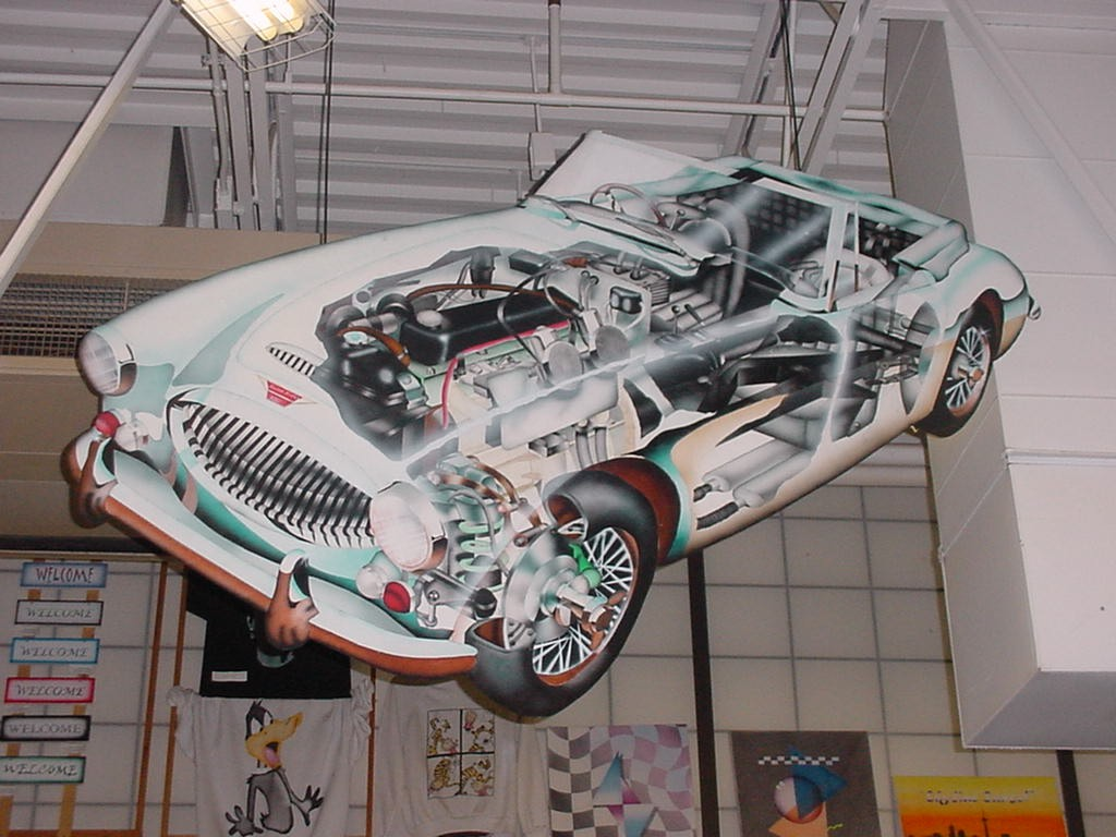 Austin-Healy (first James Bond car) - airbrushed phantom view by Lawrence King