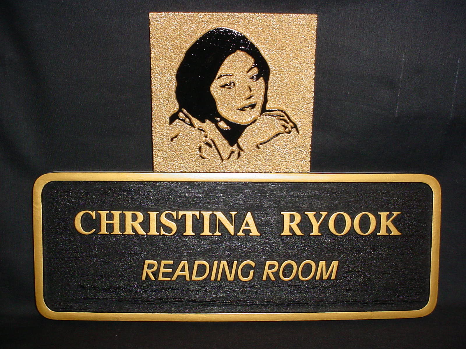 Christina Ryook Reading Room sign for the library - designed and sandblasted by the T & E Department