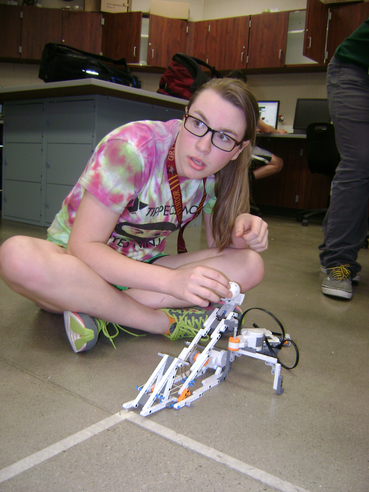 "Julia Button prepares her robotic controlled ""On Target"" device"