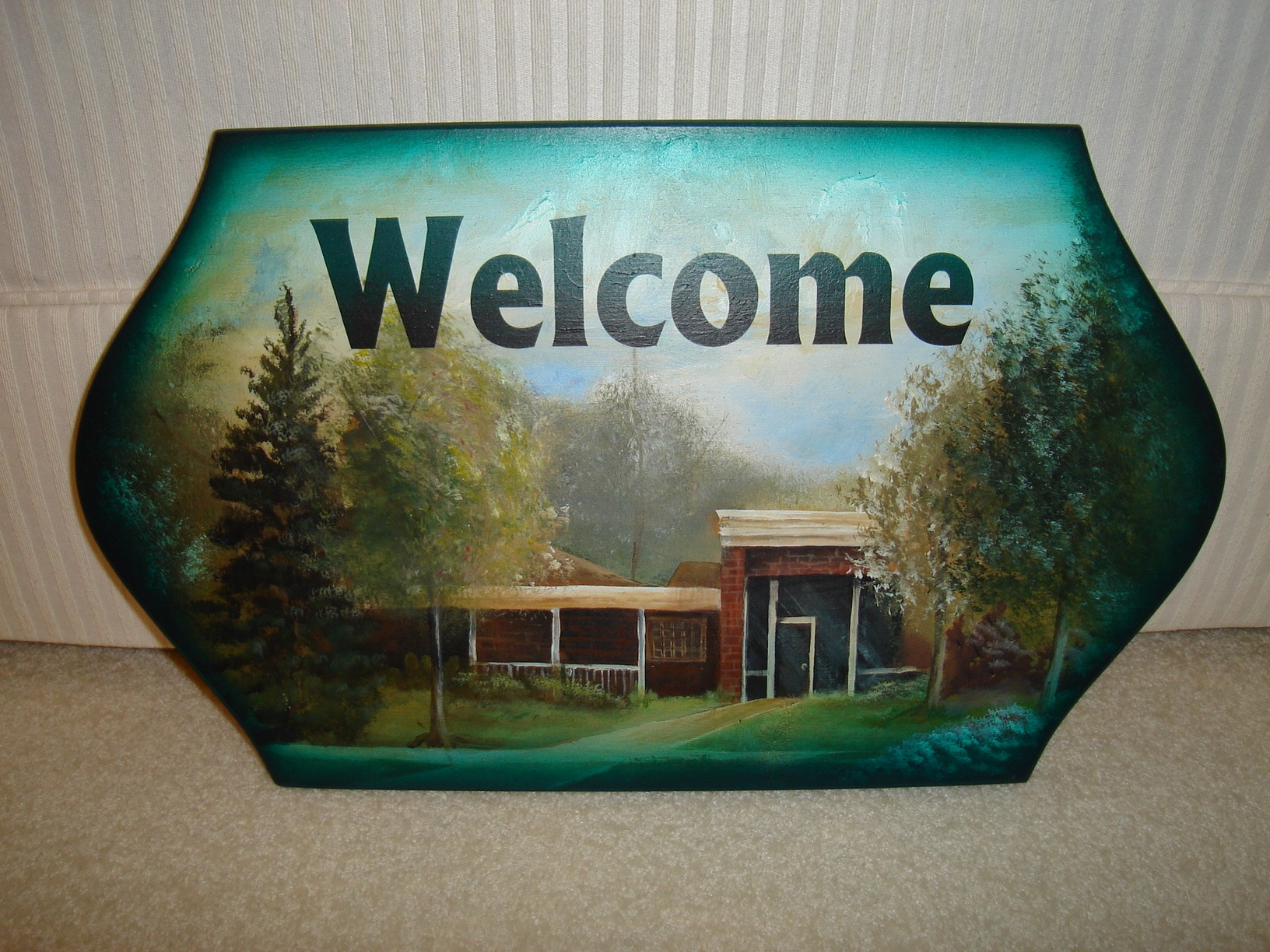 Welcome Sign - airbrushed and handpainted by Lauren Voiers - for the former BOE office August 2007